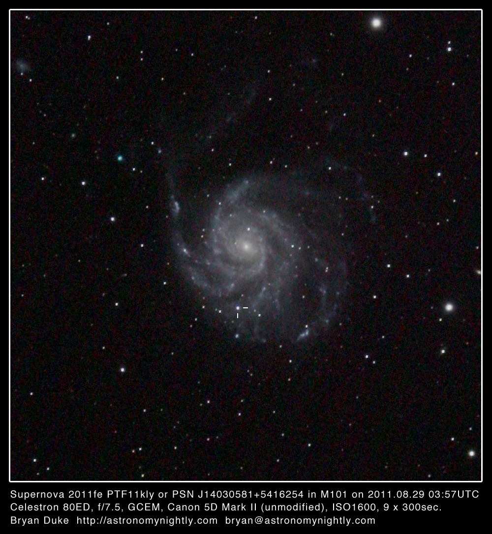 Messier101 Supernova 2011fe 20110829 0357UTC